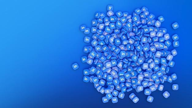 Rendu 3d d'un tas de badges carrés avec le logo linkedin sur fond bleu