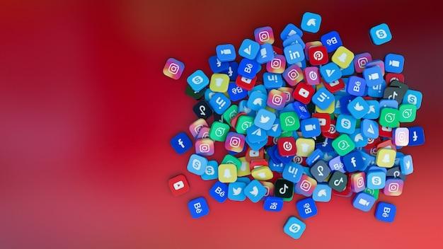 Rendu 3d d'un tas de badges carrés avec le logo des principales applications de réseaux sociaux sur fond rouge foncé