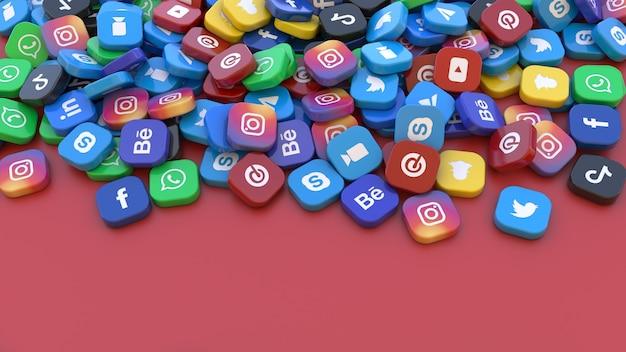 Rendu 3d d'un tas de badges carrés avec le logo des principales applications de réseaux sociaux sur fond rouge