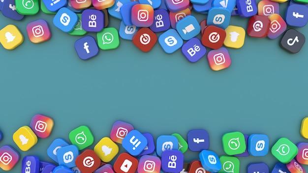 Rendu 3d d'un tas de badges carrés avec le logo des principales applications de réseaux sociaux sur fond vert