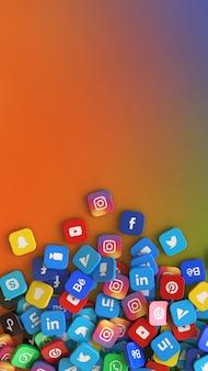 Rendu 3d d'un tas de badges carrés avec le logo des principales applications de réseaux sociaux sur fond vertical coloré