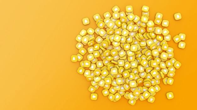 Rendu 3d d'un tas de badges carrés avec le logo de snapchat sur fond orange