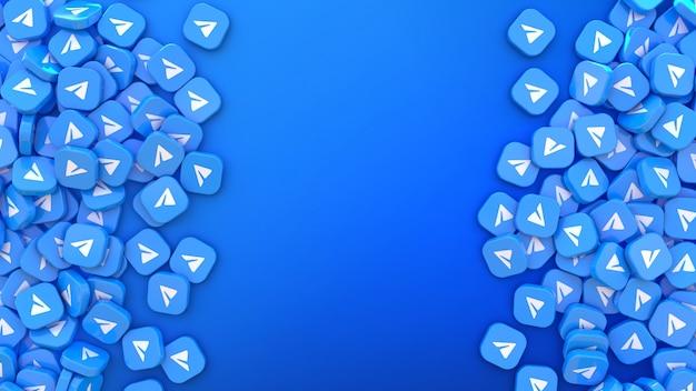 Rendu 3d d'un tas de badges carrés avec le logo telegram sur fond bleu