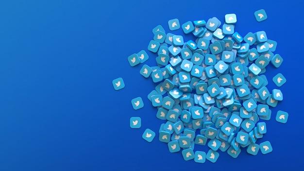 Rendu 3d d'un tas de badges carrés avec le logo twitter sur fond bleu