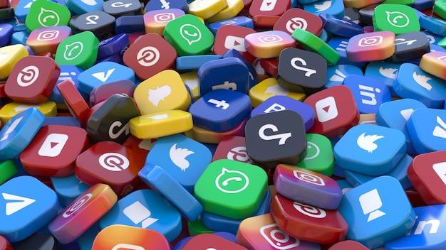 Rendu 3d d'un tas de badges carrés des principales applications de réseaux sociaux dans une vue en perspective