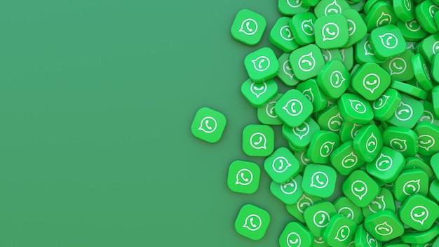 Rendu 3d d'un tas de badges carrés whatsapp sur vert