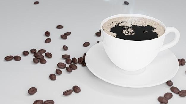Rendu 3d. tasse de café blanc sur tableau blanc.