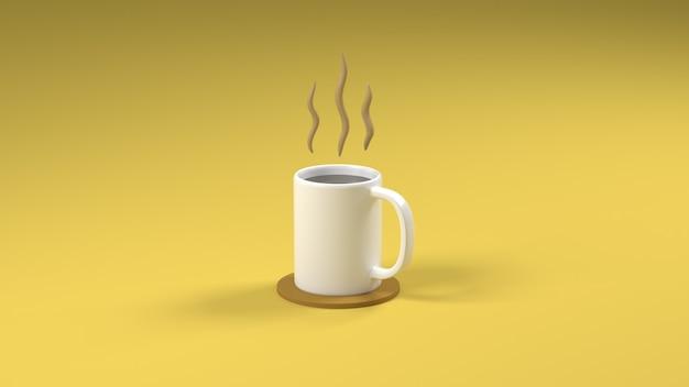 Rendu 3d une tasse de café sur fond jaune