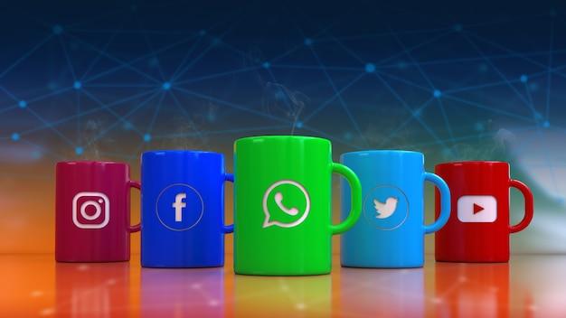 Rendu 3d de tasses colorées avec les logotypes de réseau social et de communication les plus populaires