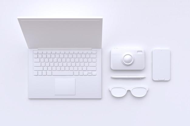 Rendu 3d technologie concept blanc scène résumé ordinateur portable caméra lunettes stylo smart phone