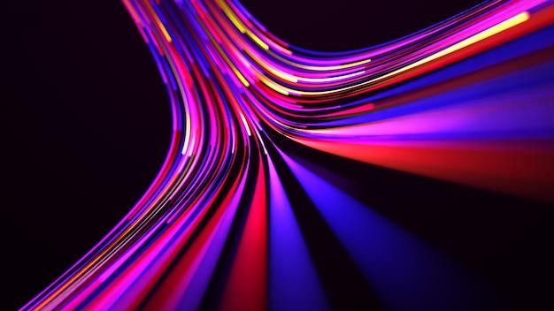 Rendu 3d. la technologie numérique de la ligne de courbe multicolore brillante colorée. conception abstraite de technologie futuriste avec des lignes pour réseau, big data, centre de données, serveur, internet.