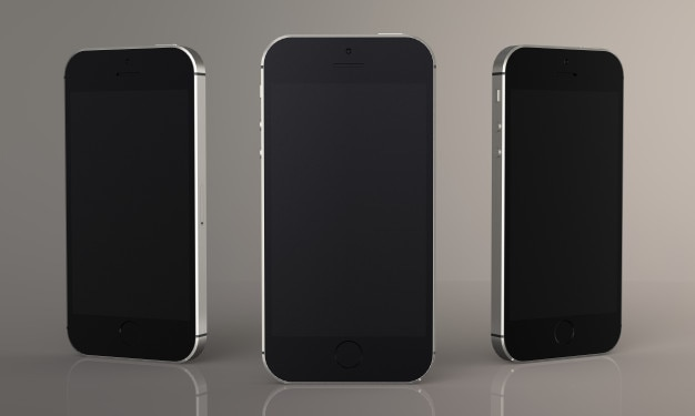 Rendu 3d téléphone intelligent moderne pour maquette, isolé