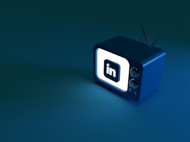Rendu 3d d'un téléviseur avec logo linkedin brillant