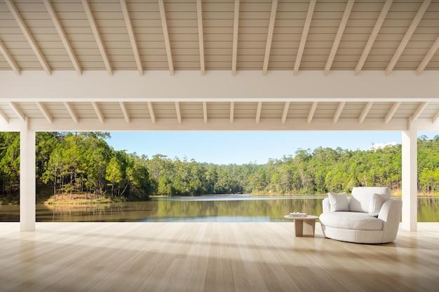 Rendu 3d d'une terrasse en bois avec canapé en tissu sur fond nature. vacances, détente.