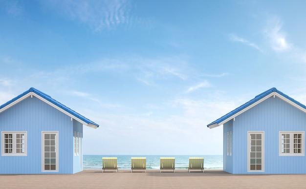 Rendu 3d de terrasse de petite maisonil y a un balcon en bois meublé avec daybad jaune