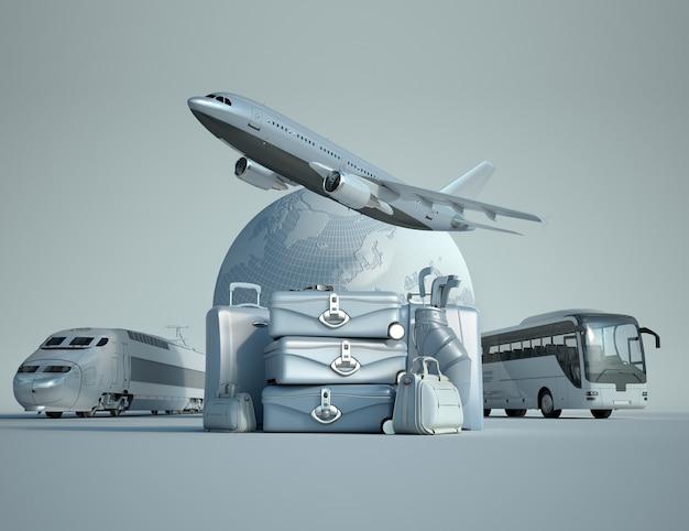 Rendu 3d de la terre, d'un avion volant, d'un train et d'un autocar avec une pile de bagages