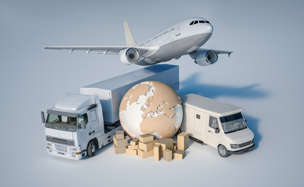 Rendu 3d de la terre, un tas de boîtes, un camion, un avion et une camionnette