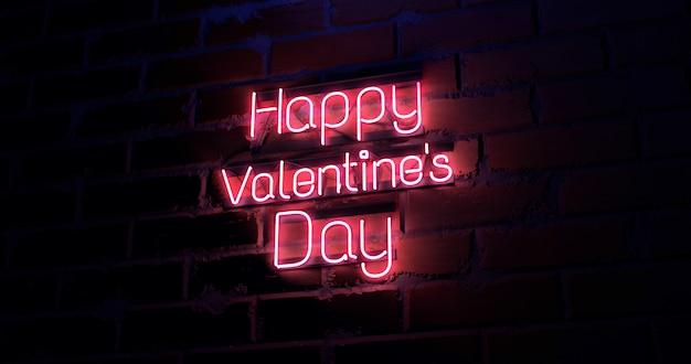 Rendu 3d texte happy valentines day sur mur de texture de brique enseigne au néon léger.