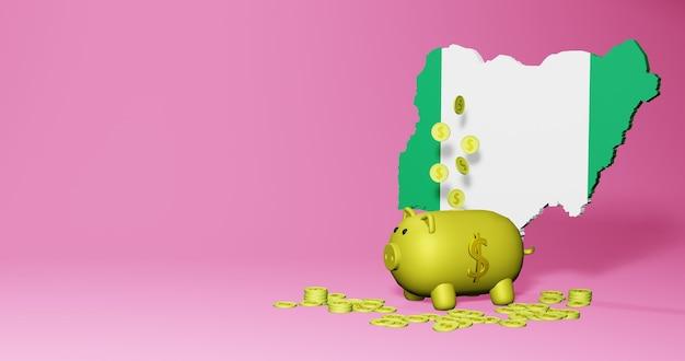 Rendu 3d de la tirelire en tant que croissance économique positive au nigeria