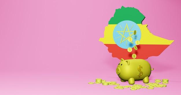 Rendu 3d de la tirelire en tant que croissance économique positive en éthiopie