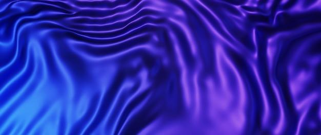 Rendu 3d de tissu bleu et violet. feuille holographique irisée. fond de mode art abstrait.