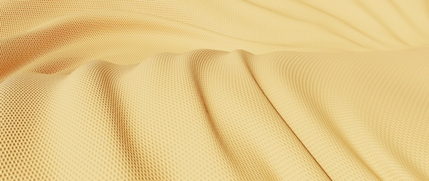Rendu 3d de tissu doré clair. feuille holographique irisée. fond de mode art abstrait.