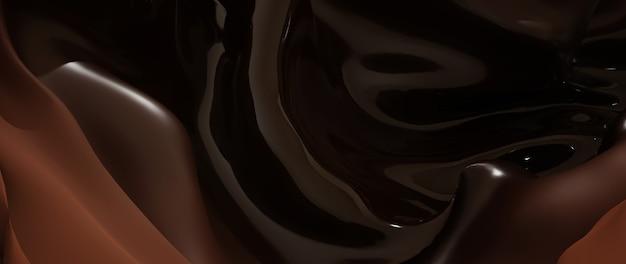 Rendu 3d de tissu foncé et marron. feuille holographique irisée. fond de mode art abstrait.