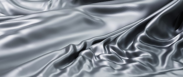 Rendu 3d de tissu gris et argent