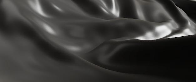 Rendu 3d de tissu gris et noir. feuille holographique irisée. fond de mode art abstrait.