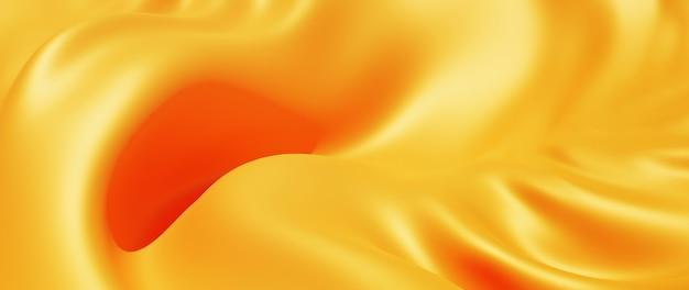 Rendu 3d de tissu jaune et orange. feuille holographique irisée. fond de mode art abstrait.