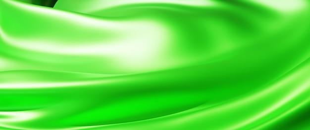 Rendu 3d de tissu léger et vert. feuille holographique irisée. fond de mode art abstrait.