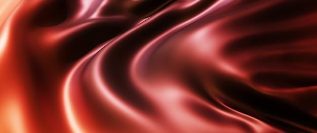 Rendu 3d de tissu marron et rouge. feuille holographique irisée. fond de mode art abstrait.