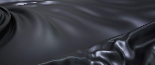 Rendu 3d de tissu noir. feuille holographique irisée. abstrait.
