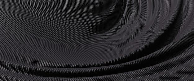 Rendu 3d de tissu noir. feuille holographique irisée. fond de mode art abstrait.