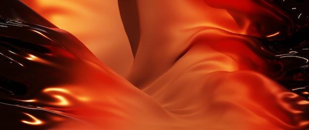 Rendu 3d de tissu orange et marron. feuille holographique irisée. fond de mode art abstrait.