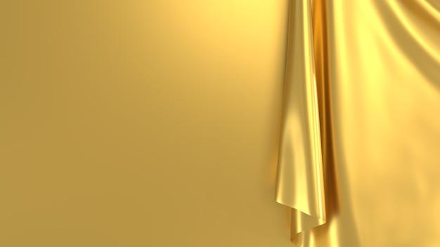 Rendu 3d de tissu de rideau d'or abstrait de fond minimal
