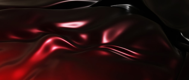 Rendu 3d de tissu rouge et noir. feuille holographique irisée. fond de mode art abstrait.