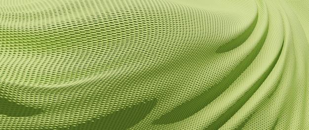 Rendu 3d de tissu vert. feuille holographique irisée. fond de mode art abstrait.