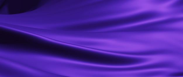 Rendu 3d de tissu violet. feuille holographique irisée. fond de mode art abstrait.