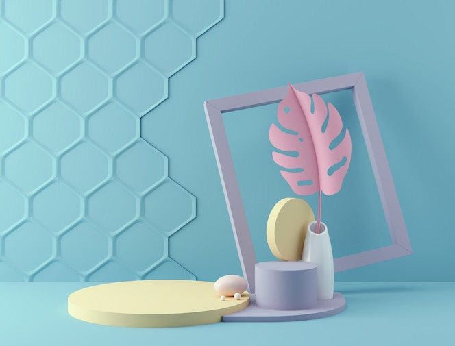 Rendu 3d de toile de fond de couleur pastel avec un podium de conception pour l'affichage dans une scène de style minimaliste.
