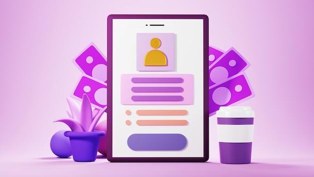 Rendu 3d de ton rose de téléphone portable. affaires en ligne et commerce électronique sur le concept de magasinage en ligne. transaction de paiement en ligne sécurisée avec smartphone.