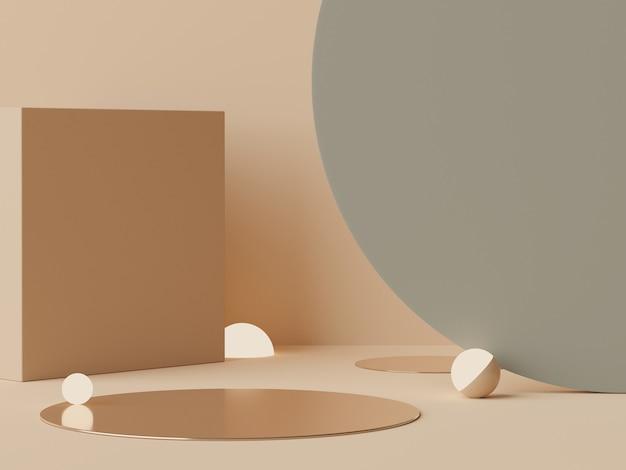 Rendu 3d tons pastel de la terre podium minimal pour la maquette et la présentation des produits