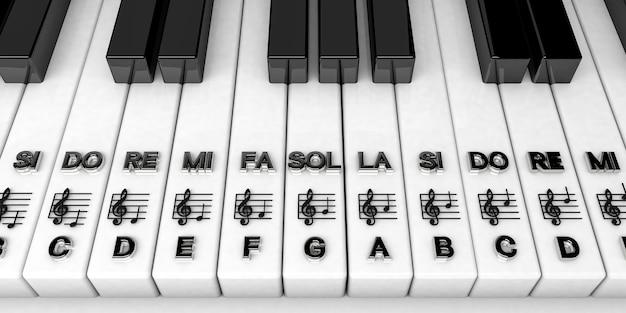 Rendu 3d, touches de piano avec des notes de clé de sol. contexte musical