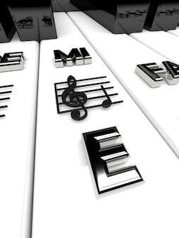 Rendu 3d, touches de piano avec des notes de clé de sol.