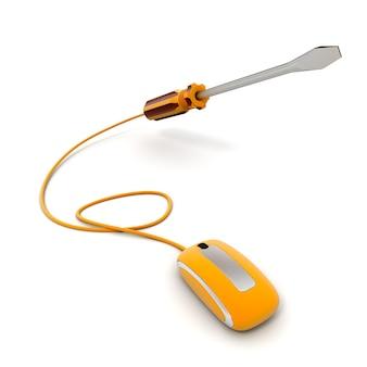 Rendu 3d d'un tournevis connecté à une souris d'ordinateur