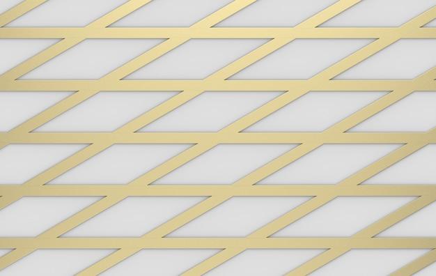 Rendu 3d. triangle de luxe moderne triangle doré grille ligne modèle design mur.