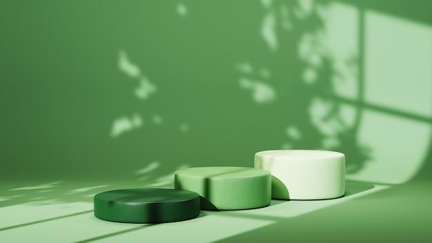 Rendu 3d de trois podiums verts pour afficher des produits dans une pièce verte et un fond d'ombres de fenêtre. maquette pour le produit d'exposition.