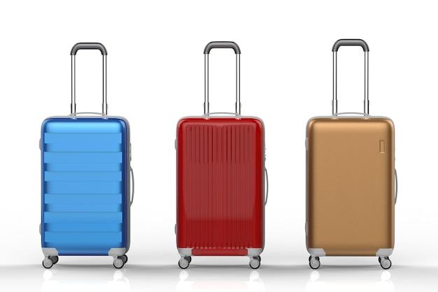 Rendu 3d trois valises rigides d'affilée