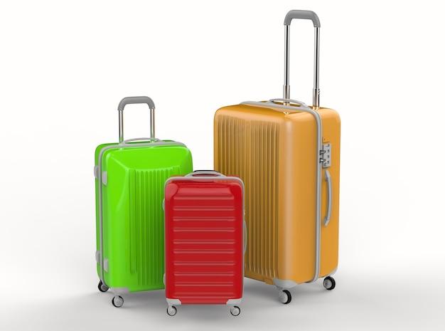 Le rendu 3d trois valises rigides sur fond blanc