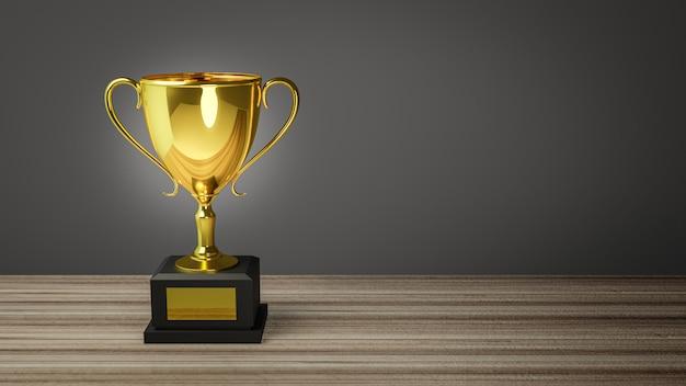 Rendu 3d. trophée d'or sur le dessus de la vieille table en bois devant le tableau noir.